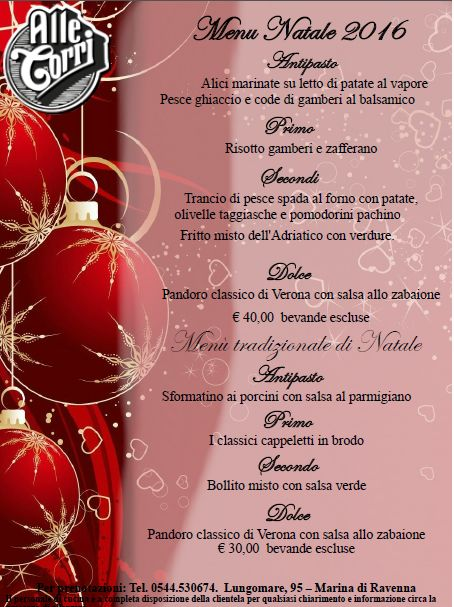 Menu Di Natale Verona.Ristorante Pizzeria Alle Torri Marina Di Ravenna